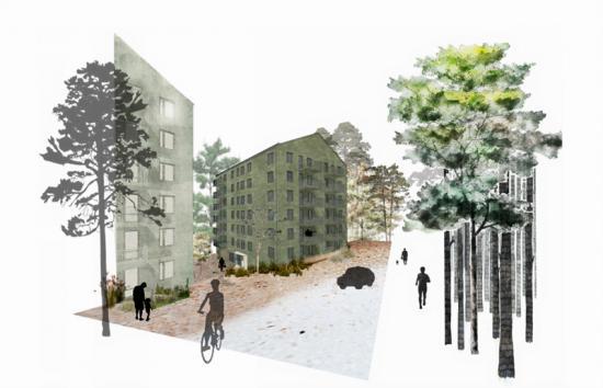 Skiss över de 160 hyreslägenheter som Veidekke ska bygga åt Aberdeen Standard Investments i Sisjödal, Göteborg.