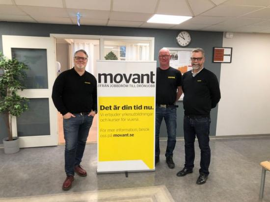 Magnus Ljungberg, enhetschef, Robert Larsson, programansvarig på byggprogrammet och Joakim Hallengren, lärare på byggprogrammet.