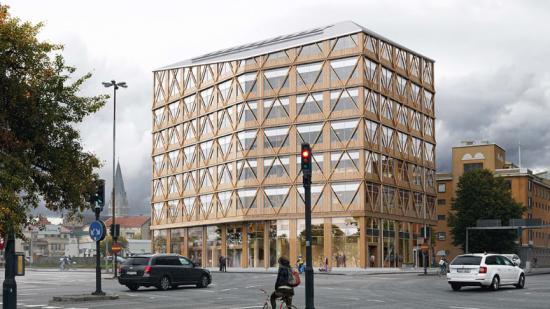 Visionsbild över Örebros nya kontorshus – som kan bli Sveriges första klimatneutrala av sitt slag (bilden är en illustration).