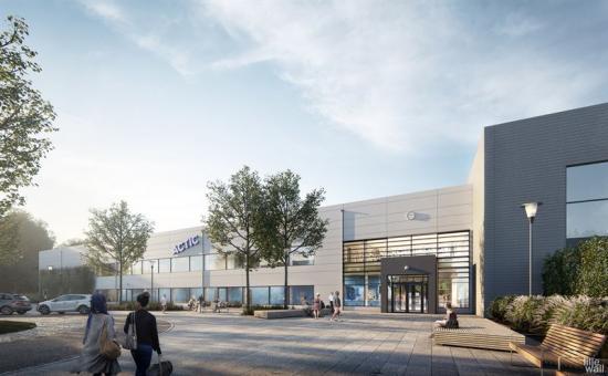 Illustration över enrén till det nya badhuset och idrottshallen i Köping.