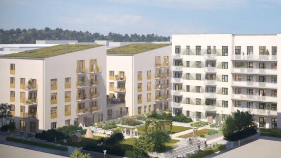 HållBo, JM och Åke Sundvall bygger ägarlägenheter i Barkarbystaden och därmed breddas utbudet av boendeformer (bilden är en illustration).