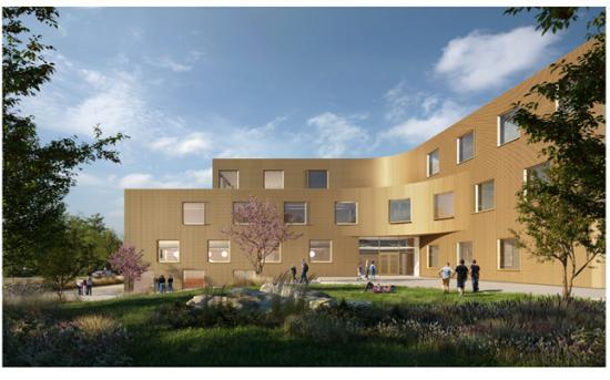 Visionsbild över nya Köpingeskolan (bilden är en illustration).