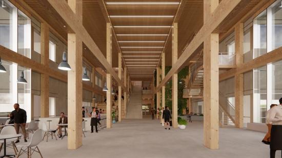 Innanför entrén,<span><span>även där är trädominerande material, menmed inslag av både grönska och betong(bilden är en illustration).</span></span>
