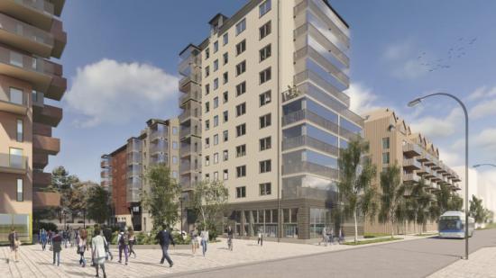 I kv Förseglet på Öster Mälarstrand byggs 183 lägenheter som beräknas vara klara i slutet av 2024 (bilden är en illustration).