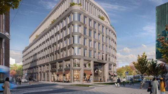 Visionsbild över entrén till Parkhuset. Utsläppen vid byggnationen kommer minskas med hjälp av trästomme och återbruk av betongstomme (bilden är en illustration).