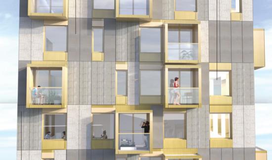 Visionsbild, fasad höghus.