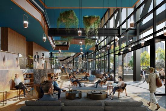 Visionsbild över The Eight, kontorsfastigheten som ska byggas iWashington (bilden är en illustration).