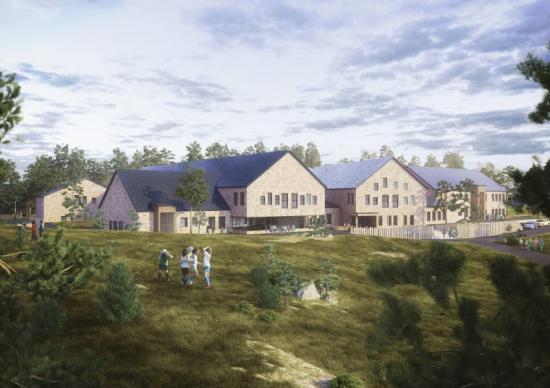 Illustration från norr vy av huvudentré och matsalens uteplats.