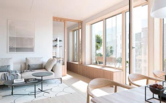 Inredningen till de49 lägenheterna är till stora delar specialdesignad av Thomas Sandell (bilden är en illustration).