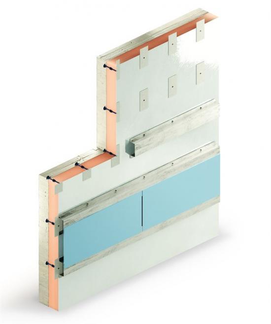 Kombination för ventilerad fasad där hylsan med hattprofil fungerar som fixeringspunkt för ventilerade system.