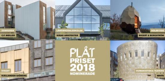 Långbrodalsskolan, Humanistiska teatern, Solar Egg, Etaget och Zenhusen är nominerade till utmärkelsen PLÅTPRISET 2018.Klicka vidareför att se alla nominerade.