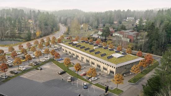 Kvarteret 1:80 i Saltsjö-Boo, Hantverkarnas co-working arena färdigställs 2021 (bilden är en illustration).