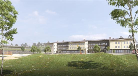 Så här kan skolgården tillFärjestadsskolan komma att se ut (bilden är en illustration).