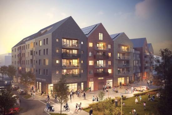 Visionsbild över Credentias bostadsrätter i kommande kvarter i Norrtälje Hamn.