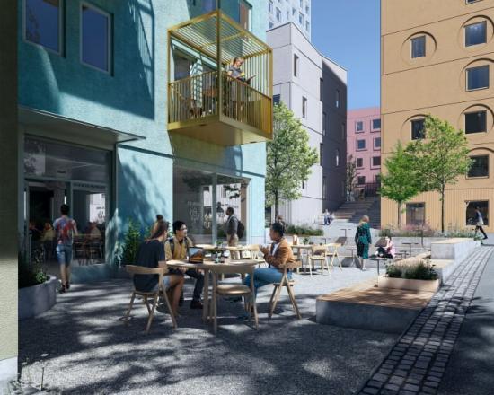 Visionsillustration över hur en del av det nya området kan se ut när det är färdigbyggt.
