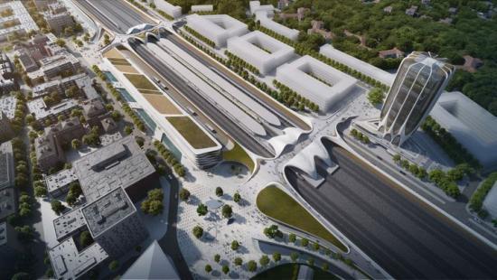 Exempel på hur Väsby Entré skulle kunna gestalta sig när stationsområdet och kringliggande bostadshus är färdigbyggda.