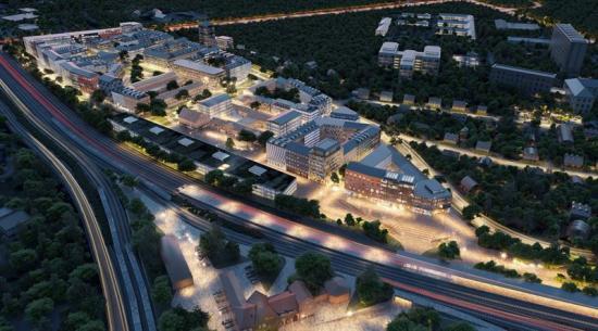 Flygbild över den nya delen av Nyköping(bilden är en illustration).