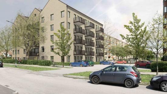 Visionsbild överStena Fastigheter bygger fyra nya fastigheter med 135 miljöcertifierade lägenheter på västra Bellevuegården (bilden är en illustration).