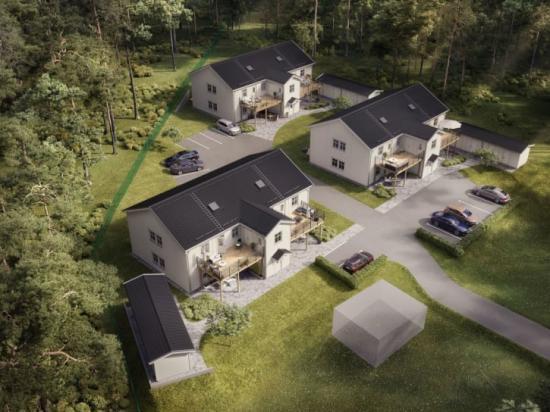 Lägenheterna byggs i tre huskroppar som i sin utformning påminner om New England-villor.