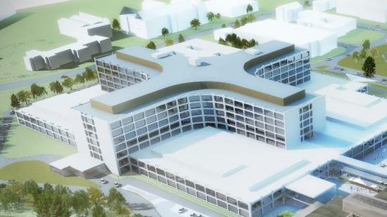 Visionsbild över Nya sjukhusområdet Helsingborg, som ska stå färdigt 2025 (bilden är en illustration).
