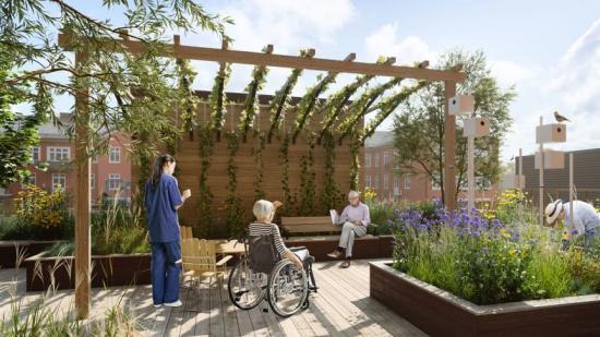 Genom att skapa fler miljöer än enbart de kliniska skapas ett hus som upplevs just som ett hus snarare än ett sjukhus (bilden är en illustration).