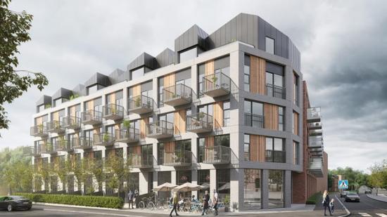 De två bostadshusen i Kv. Brännaren i Norra Sorgenfri i Malmö kommer få en klimatpositiv betongstomme (bilden är en illustration).