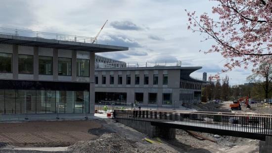 Bild från bygget av Campus Albano, Stockholm.