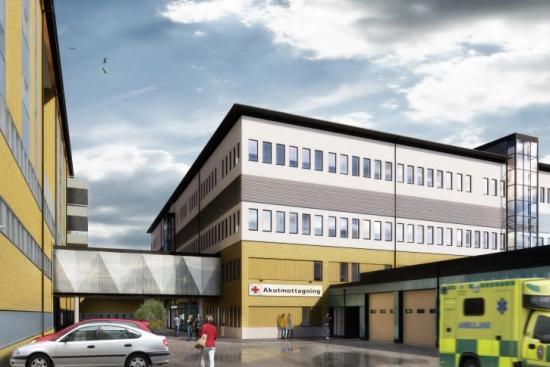 Byggnationen av Hudiksvalls sjukhus nya ambulanshall och länkbyggnad påbörjades sommaren 2020 och kommer se ut som på bilden när det är färdigbyggt (bilden är en illustration).