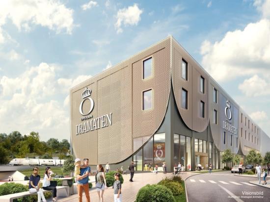 Strategisk Arkitektur ritar Kungliga Operans och Dramatens nya ateljéer och verkstäder. Bilden är en visionsbild.
