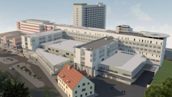 Visionsbild över Framtidens Sjukhus, som är Region Sörmlands satsning på att modernisera och bygga till länets sjukhus (bilden är en illustration).
