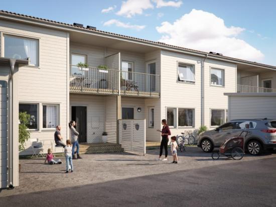 Illustration av entrésida med uppfart, förstukvist och balkong, BoKlok Hörnan i Bålsta.