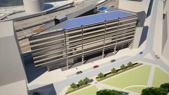 3D-skiss på solcellsanläggningen på Clarion Hotel Sign.