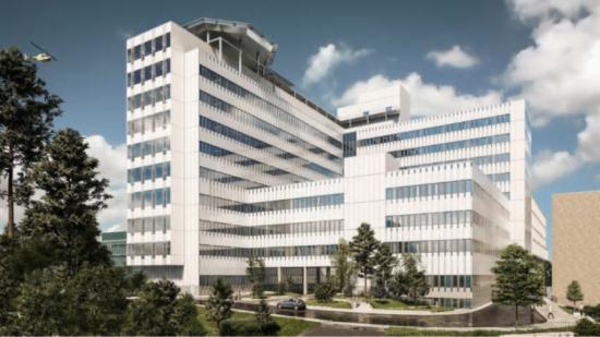 Ramirent vann uppdraget att stötta Locum i arbetet att utforma en säker, effektiv och hållbar arbetsplats under byggnationen av Danderyds sjukhus nya vårdbyggnad (bilden är en illustration).
