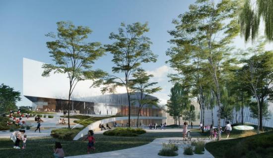 Nytt Science Center i Lund och Science Village. Exteriörvy av tävlingsförslaget Orbit.