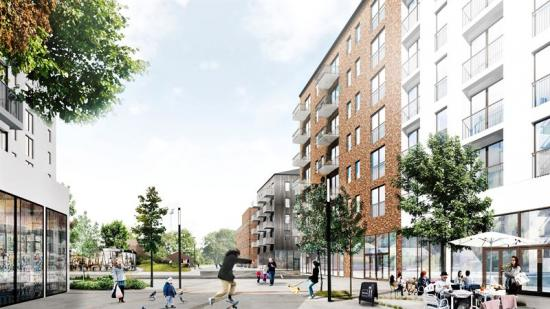 Visionsbild Skeppskajen, Gamla Ångkvansgatan blir en knutpunkt för stadsliv.