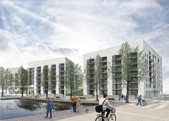Illustration över fasaden på det nya kvarteret.