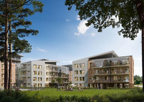Visionsbild över HSBs nya fastighetsprojekt iJakobsbergsskogen.