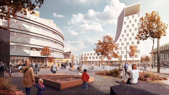 Det nya torget i Kiruna. Från systemhandlingen av White arkitekter och Ghilardi+Hellsten arkitekter (bilden är en illustration).
