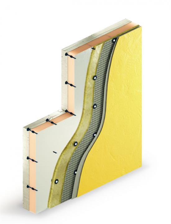 Kombination för putsade fasadlösningar där putsbeslagen fästs mot den fixeringspunkten utan förborrning i betong.