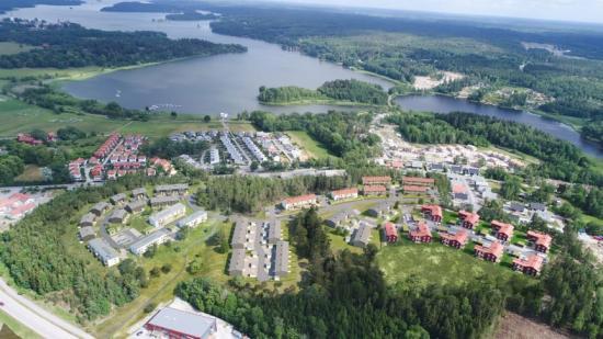 Det nya bostadsområdet i Läggesta, Mariefred, med en hel rad olika kvarter med olika BoKlok-hus och -lägenheter (bilden är en illustration).