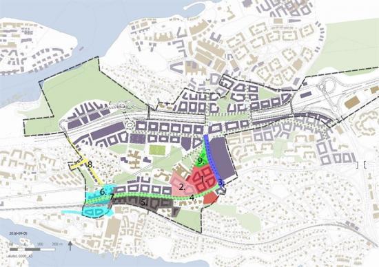 Karta över centrala Nacka med delprojekten i uppdraget markerade.