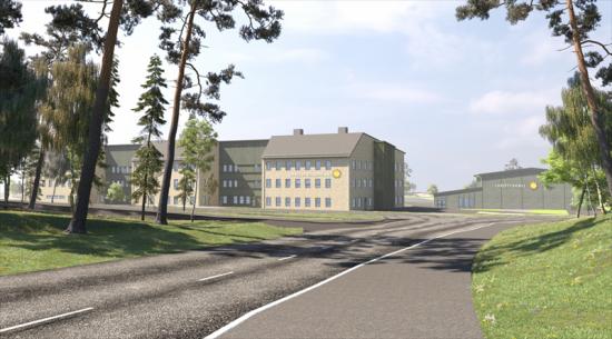 Vägen in mot Färjestadsskolan, som syns till vänster, och idrottshallen, till höger (bilden är en illustration).