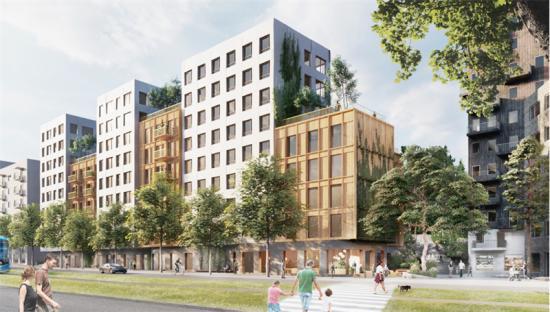 Det nya bostadskvarter ska byggas på Hälsovägen i Flemingsberg och kommer ge plats för 300 nya bostäder (bilden är en illustration).