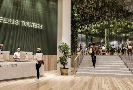 Illustration överTellus Towers framtida lobby.