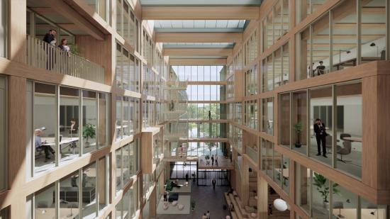 Visionsbild över atrium i i8 på iCampus Werksviertel(bilden är en illustration).