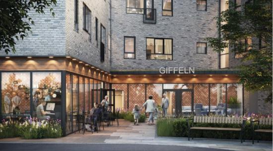 Kornellen ska byggas på tomten med fastighetsbeteckning Giffeln 1 (bilden är en illustration).