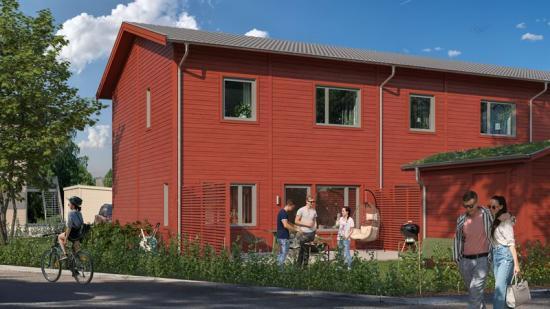 Visionsillustration över Falköpings nya bostäder.