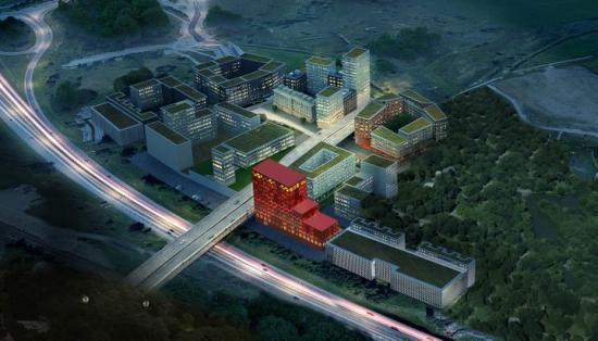 Vy över det nya området i Barkarby där Skanska Sverige utvecklar och bygger tre kvarter med bostäder, kontorslokaler, kommersiella ytor, hotell, vårdboende och parkeringshus. Parkeringshusen blir fundament för Veddestabron som går genom området och blir en länk till den nya kollektivtrafiknoden i Barkarby med tunnelbana, pendeltåg, ny bussterminal och regionaltågstation.