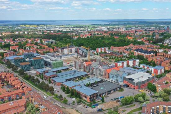 Drönarbild över området Ebbepark i Linköping.