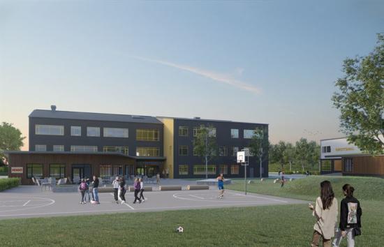 Den nya skolbyggnadenoch idrottshallen ska byggas i Bagartorp i Solna kommun.